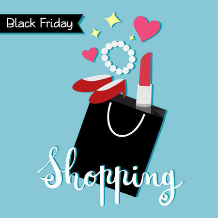 Black Friday shopping bag in flat style. Vector illustration.