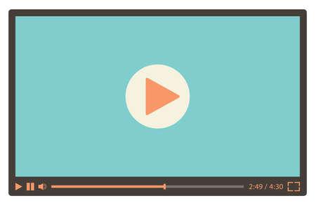 Lecteur vidéo pour le web dans un style rétro. Illustration vectorielle