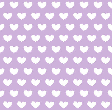 Seamless pattern with cloud hearts in violet background.Vector illustration