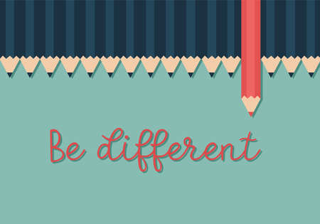 Red color pencil standing out from dull pencils. Think different concept.