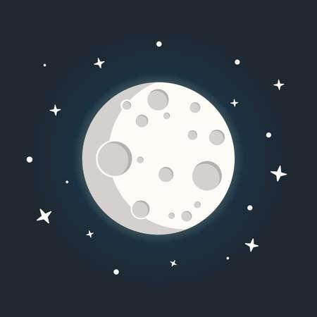 Mond im flachen Dasign-Stil. Nachtraumastronomie mit Mond und Sternen.
