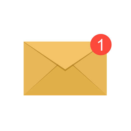 Flat syle of yellow e-mail with notification, vector illustration.