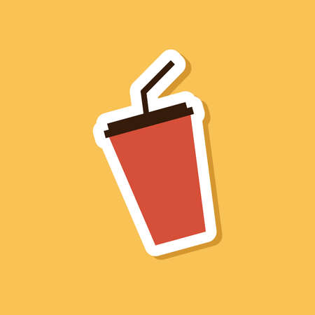 Flat style of cola cup sticker on yellow background.