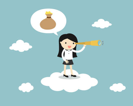 Business woman standing on the cloud with a telescope and looking for money. Vector illustration.