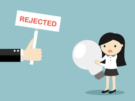 Business concept, Hand shows rejected sign to business womans idea. Vector illustration.