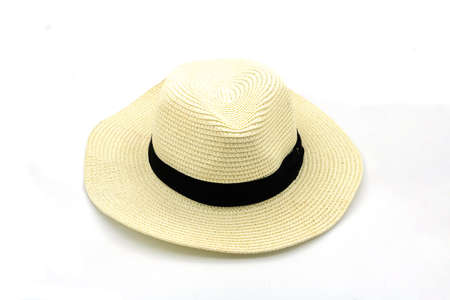 Summer straw hat. Isolated on a white background. 스톡 콘텐츠