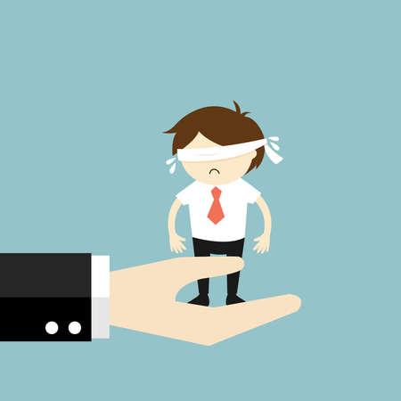 Business concept, Blindfolded businessman feeling nervous on the big hand. Vector illustration.