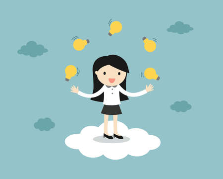 Business concept, business woman juggling many light bulbs while standing on the cloud.