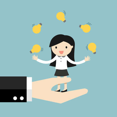 Business concept, business woman juggling many light bulbs while standing on the big hand.
