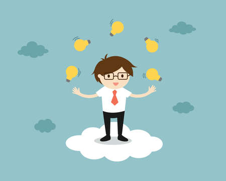 Business concept, businessman juggling many light bulbs while standing on the cloud. Ilustración de vector