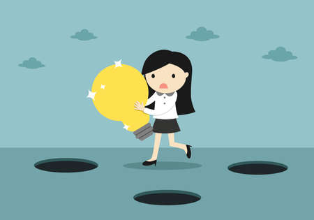 Business concept, Careless business woman is holding a bag of coins while walking. Vector illustration. 矢量图片
