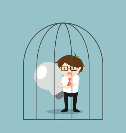 Business concept, Businessman holding failed light bulb in the jail. Vector illustration. Ilustracja
