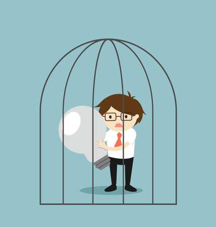 Business concept, Businessman holding failed light bulb in the jail. Vector illustration. Illustration