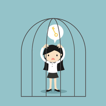 Business concept, Business woman wants a key to get out of the jail. Vector illustration. Vector Illustratie
