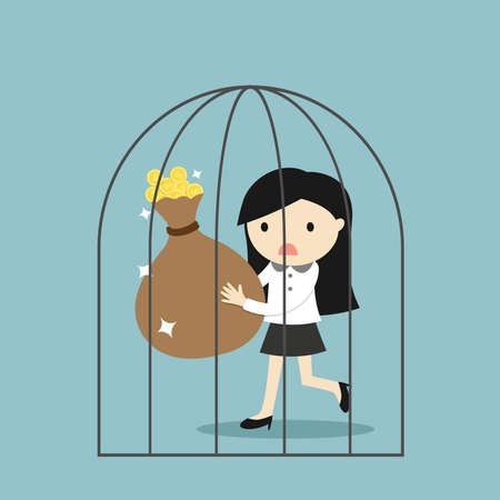Business concept, Business woman can't get out of the jail. Vector illustration. Vector Illustratie