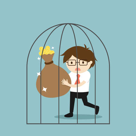 Business concept, Businessman can't get out of the jail. Vector illustration.