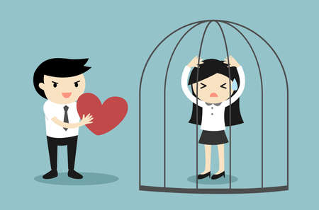 Business concept, Businessman forces business woman to accept his love. Vector illustration.