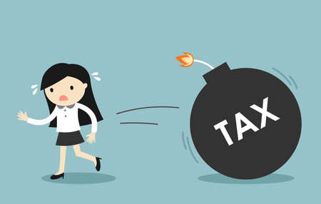 Business concept, Business woman is running from tax. Vector illustration. Vector Illustration