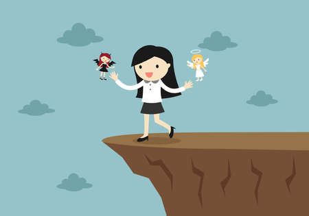 Business concept, Business woman is walking to the cliff with angel and devil. Vector illustration.