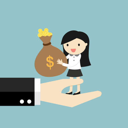Business concept, Business woman offers money to boss. Vector illustration Stock Illustratie