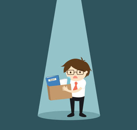 Business concept, Businessman in the spotlight feeling sad and want new job. Vector illustration. 矢量图像