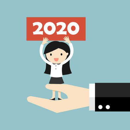 Business concept, Business woman is standing on big hand and holding