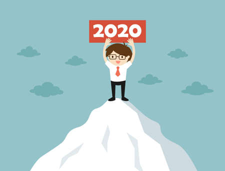 Business concept, Businessman is standing on the mountain holding