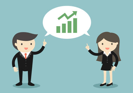 Business concept, Two bosses are talking about growing up graph. Vector illustration.