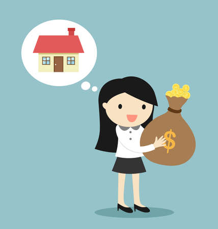 Business concept, Business woman is thinking about buy the house. Vector illustration. 矢量图像