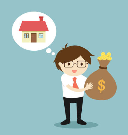 Business concept, Businessman is thinking about buy the house. Vector illustration.