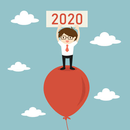 Business concept, Businessman is standing on balloon and holding