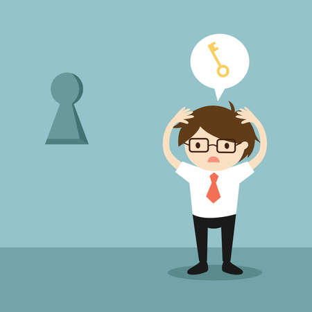 Business concept, Businessman worrying about the key to unlock keyhole on the wall. Vector illustration.