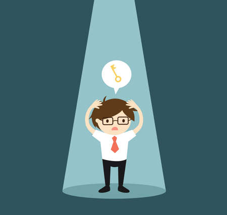 Business concept, Businessman in the spotlight is worrying about the key. Vector illustration. 矢量图像