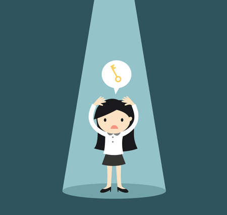 Business concept, Businesswoman in the spotlight is worrying about the key. Vector illustration.