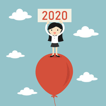 Business concept, Business woman is standing on balloon and holding