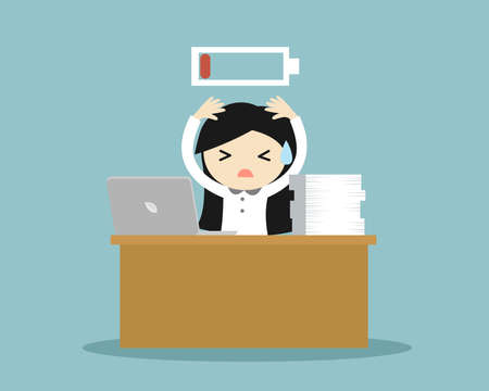 Business concept, Business woman feeling super tired and low battery. Vector illustration. 矢量图像