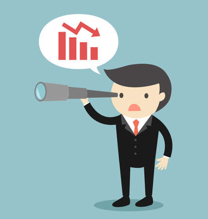 Business concept, Businessman using his telescope and seeing burndown chart. Vector illustration.