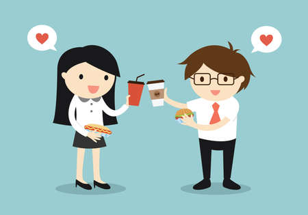 Business concept, Business woman and businessman are eating food together. Vector illustration.