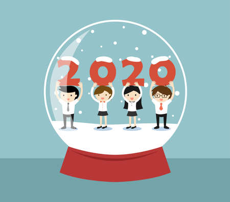 Business concept, Business people holding '2020' letters in a snow globe. 矢量图像