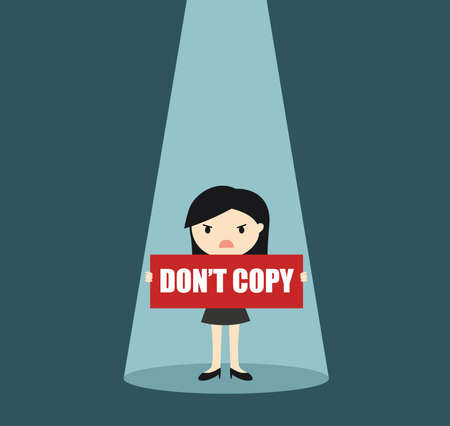 Business concept, Business woman holding 'DON'T COPY' banner in the spotlight. Vector illustration. 矢量图像