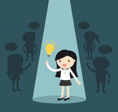 Business concept, Business woman standing alone in spotlight while she gets an idea. Vector illustration.