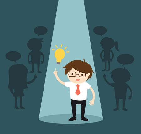 Business concept, Businessman standing alone in spotlight while she gets an idea. Vector illustration.