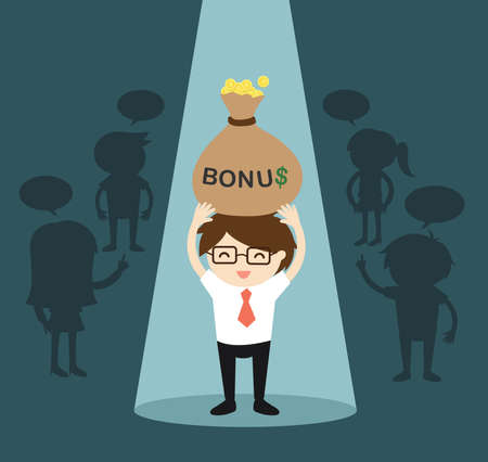 Business concept, Businessman standing alone in spotlight while holding big bonus. Vector illustration.