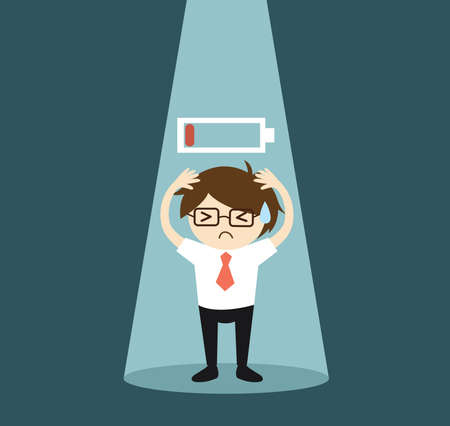 Business concept, Businessman in the spotlight feeling frustrated and low battery. Vector illustration. 矢量图像