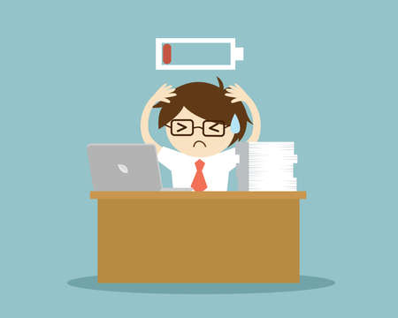 Business concept, Businessman feeling super tired and low battery. Vector illustration.