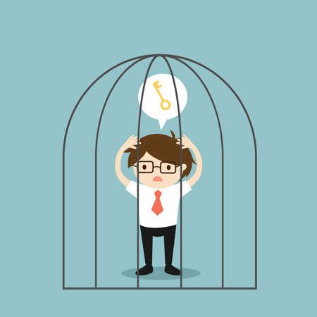 Business concept, Businessman wants a key to get out of the jail. Vector illustration. 矢量图像