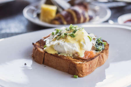 Smoked salmon and eggs benedict.
