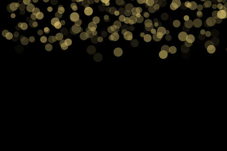 Abstract gold bokeh on black background, can use for celebration or festival.