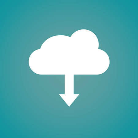 Flat style cloud with down arrow on the blue wallpaper. Vector illustration.