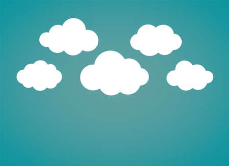 Flat style clouds with blue wallpaper. Vector illustration.